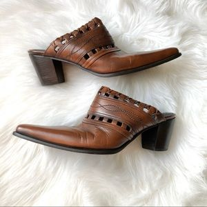 Dingo Leather Heeled Mules Brown Western Boho